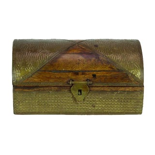 Brass Paneled Wooden Chest