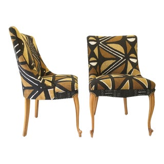 Pair of Vintage Neoclassic Mali Mudcloth Upholstered Dining Chairs
