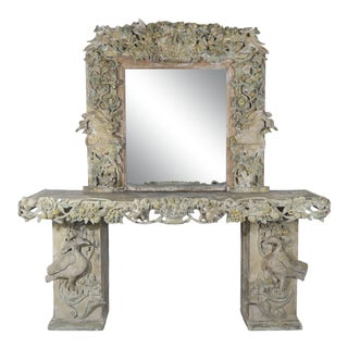 19th Century Italian Carved Wood Painted Console and Mirror For Sale