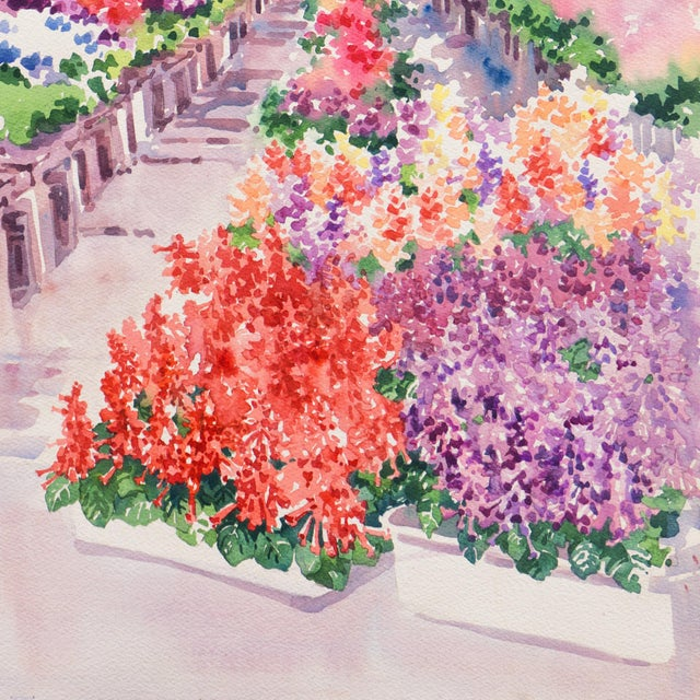 1980s 'Flowers in the Greenhouse' by Charlotte Britton, California Woman Artist, American Watercolor Association For Sale - Image 5 of 8