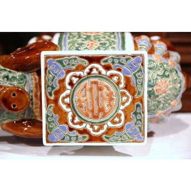 1920s Early 20th Century French Hand-Painted Faience Elephant Garden Seat For Sale - Image 5 of 8