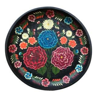 Vintage Mexican Folk Art Wood Batea Bowl For Sale