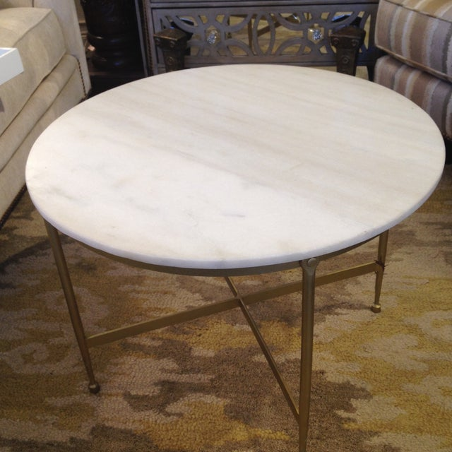 round white granite topped metal coffee table chairish. Black Bedroom Furniture Sets. Home Design Ideas