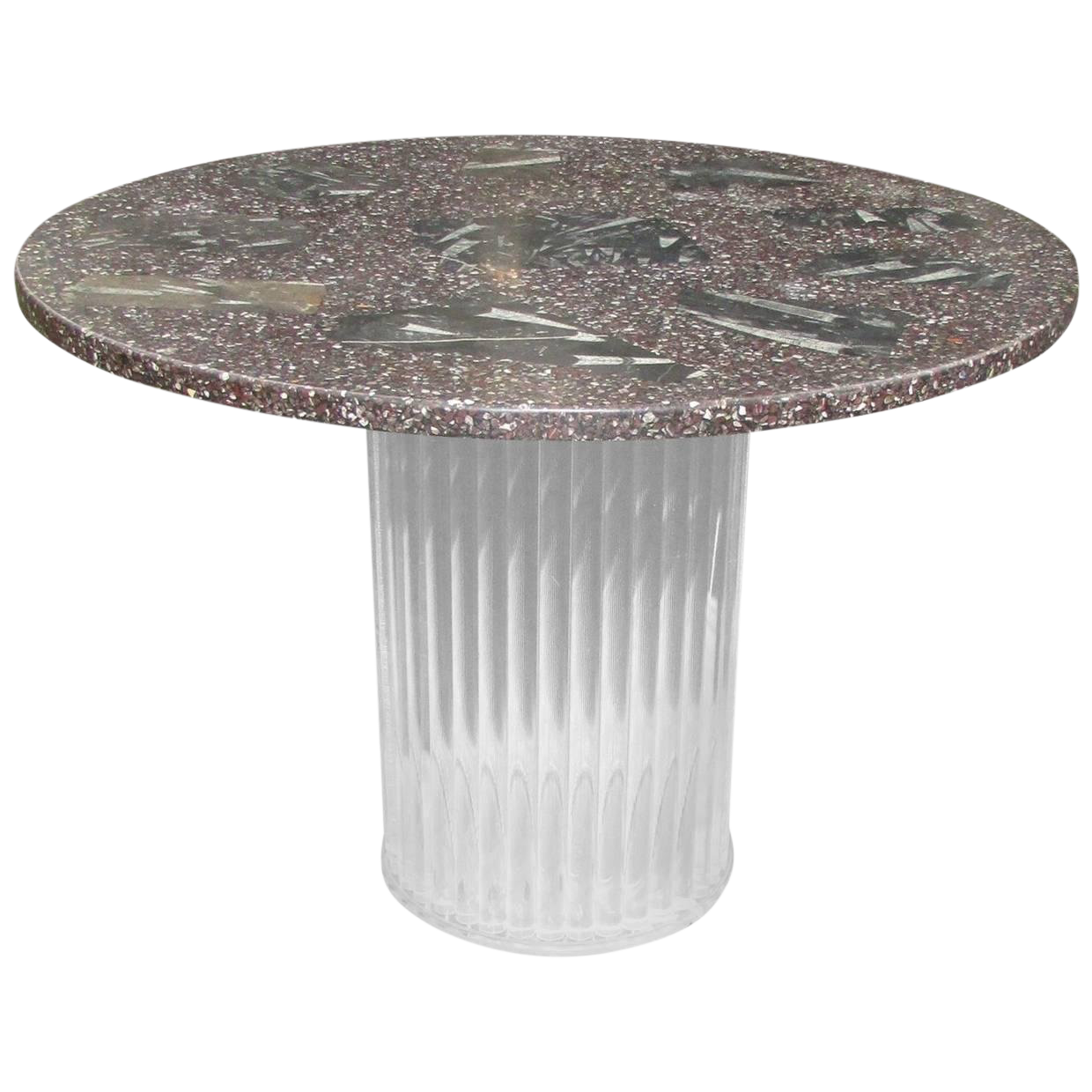 Mid Century Modern Lucite And Fossil Stone Round Dining Table