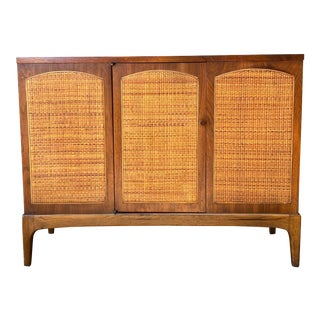 "Mid-Century Modern Lane ""Rhythm"" Walnut and Cane Cabinet For Sale"