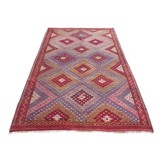 "Vintage Turkish Handmade Kilim Rug-6'1'x9'7"" For Sale"