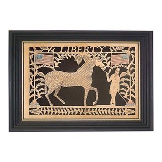 Liberty Reproduction Scherenschnitte Paper Cutting in Black Frame With Gold Trim For Sale