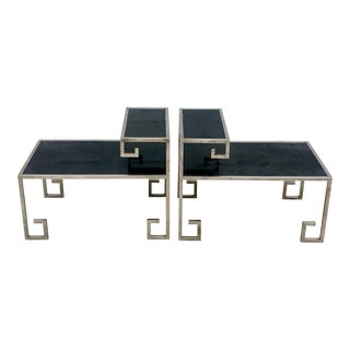 1970s Modern Greek Key Design Chrome and Black Granite Side Tables - a Pair For Sale