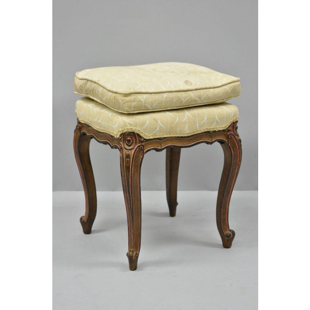 Vintage French Provincial Louis XV Style Upholstered Stool Bench For Sale - Image 10 of 10