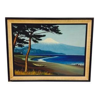 Framed Vintage Island Landscape Oil Painting
