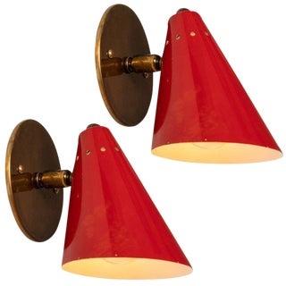 1950s Italian Red Cone Sconces - a Pair For Sale