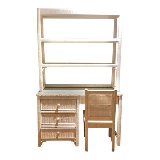 Vintage Henry Link White Wicker Desk and Book Shelf and Chair For Sale