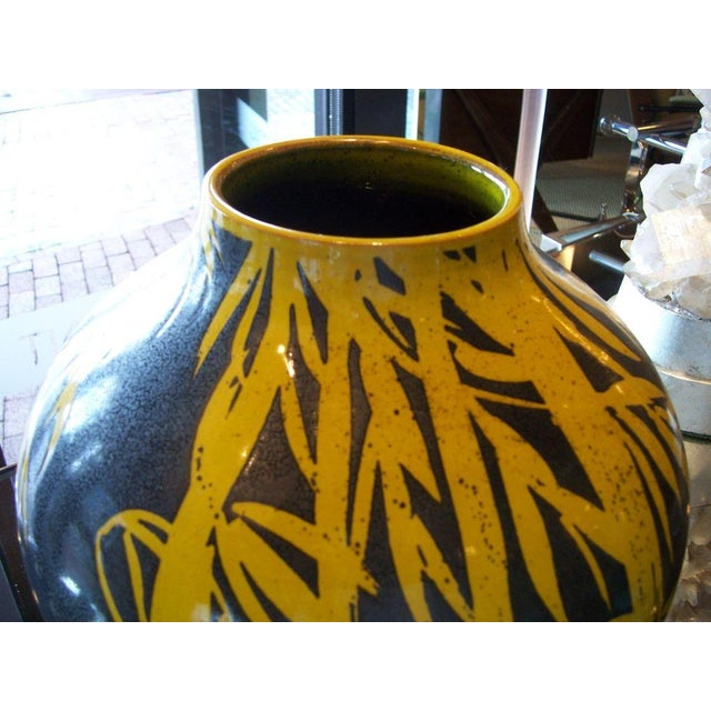 1960s Yellow Bamboo Glazed Terracotta Vase For Sale - Image 5 of 5