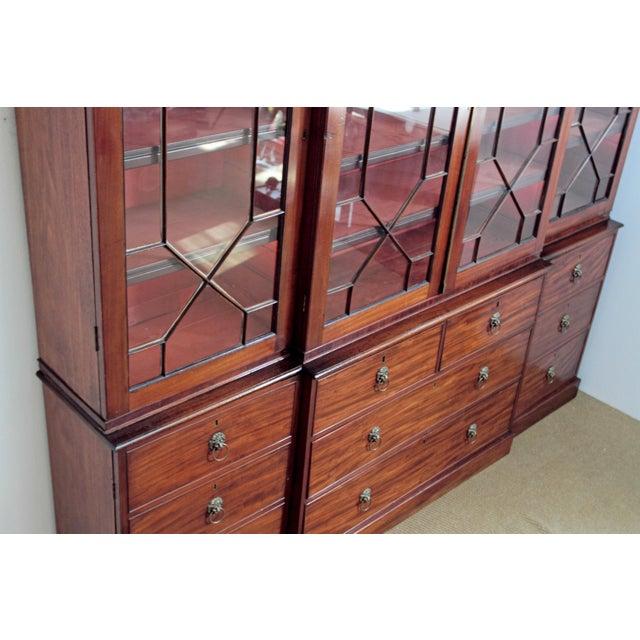 Elegant Period George III Mahogany Breakfront Bookcase - Image 8 of 11