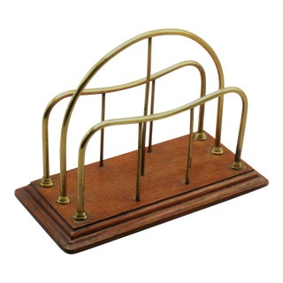 English Oak & Brass Letter Rack Holder For Sale