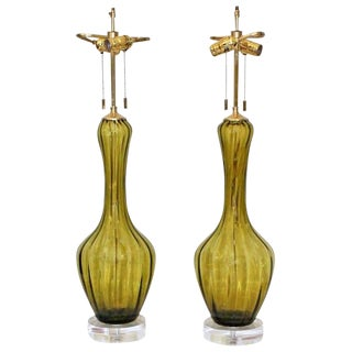 Absinthe Green Colored Murano Glass Lamps - a Pair For Sale