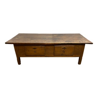 Early-20th Century Distressed Solid Wood Coffee Table + Drawers For Sale