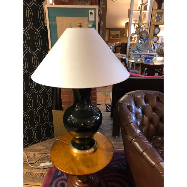 Oversized Black and Brass Table Lamp For Sale - Image 9 of 9