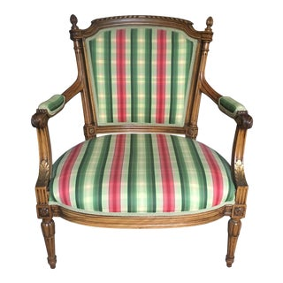 1990s French Louis XVI Knoll Style Bergere Arm Chair