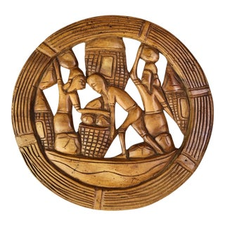 Mid 20th Century Vintage Tropical Village Carved Teak Wood Circular Wall Art For Sale