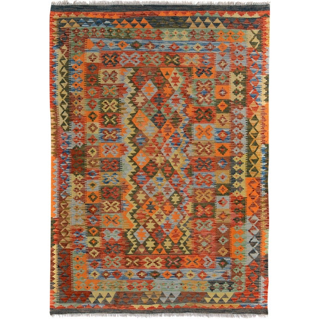 Arya Rickie Blue/Orange Wool Kilim Rug - 4'10 X 6'9 A9368 For Sale
