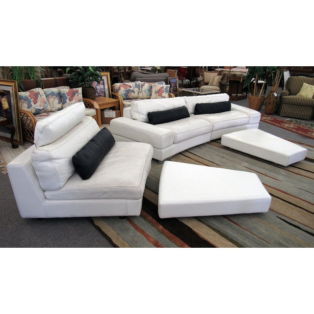 Roche Bobois 2007 Modern Roche Bobois by Polaris White Leather Modular 5 Pc. Sectional Sofa For Sale - Image 4 of 12