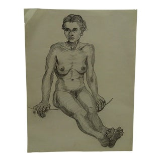 "Tom Sturges Jr. 1958 ""Bare Feet Nude"" Original Drawing"