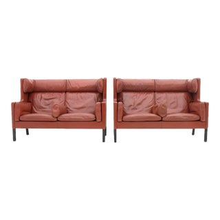 One of Two Børge Mogensen Coupe Leather Sofa 2192 Made by Frederica, Denmark For Sale