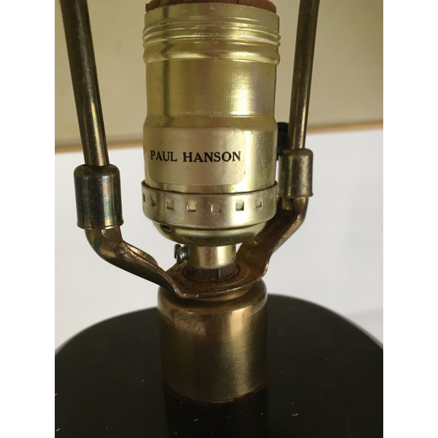Metal Brass Paul Hanson Elephant Lamp With Green Pagoda Style Shade For Sale - Image 7 of 9