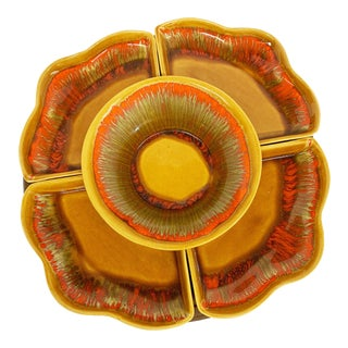 Mid-Century Modern Glazed Ceramic Lazy Susan by Deforest of California For Sale