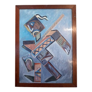 Mid 20th Century Cubist Portrait of a Man Oil Painting, Framed For Sale