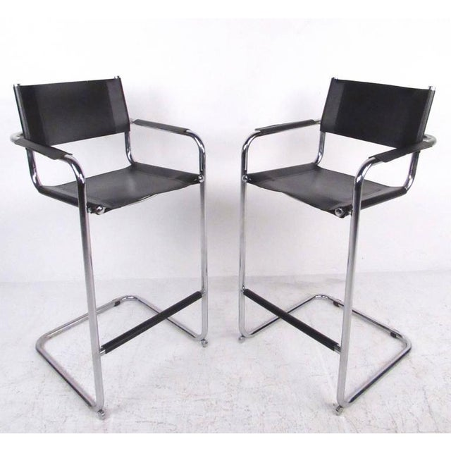Astonishing Mid Century Chrome Leather Cantilever Bar Stools Pdpeps Interior Chair Design Pdpepsorg