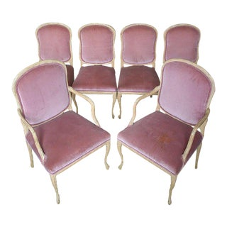 1960s Hollywood Regency Hand-Carved Dining Chairs - Set of 6 For Sale