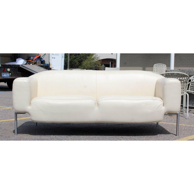 Contemporary Modern White Leather Sofa on Steel Frame B&b Minotti Style Italian For Sale - Image 9 of 9