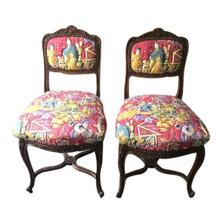 French Oak Slipper Chairs - A Pair