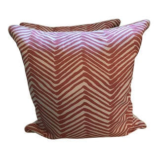 Quadrille Salmon Zig Zag Linen Pillows - a Pair For Sale