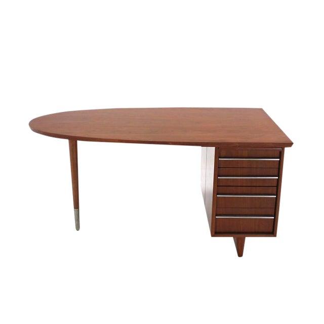 Unusual Oval Shape Walnut Partners Extra Deep Desk Long Metal Stip Shape Pulls For Sale