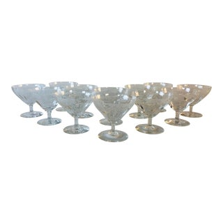 1950s Floral Etched Low Coupe Stems, Set of 12 For Sale