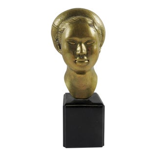 Brass Bust of Young Asian Woman