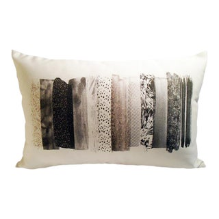 Charcoal Colorway Lumbar Linen Pillow For Sale