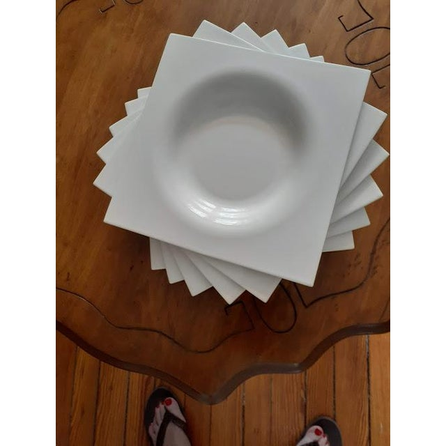 Contemporary Ligne Roset Jean-Marc Gady White Ceramic Moon Plates- Set of 6 For Sale - Image 3 of 6