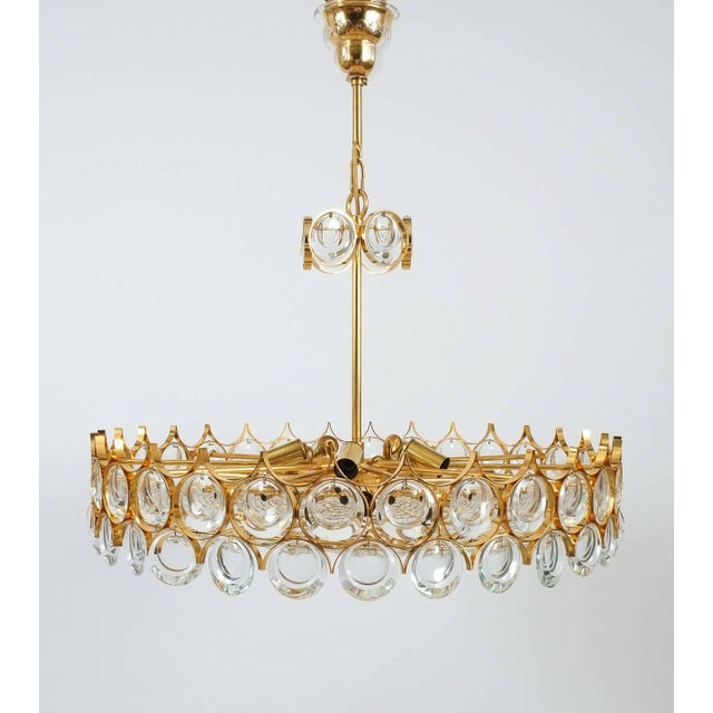 Palwa Gold Brass and Glass Large Chandelier Ceiling Lamp, 1960 For Sale - Image 6 of 10