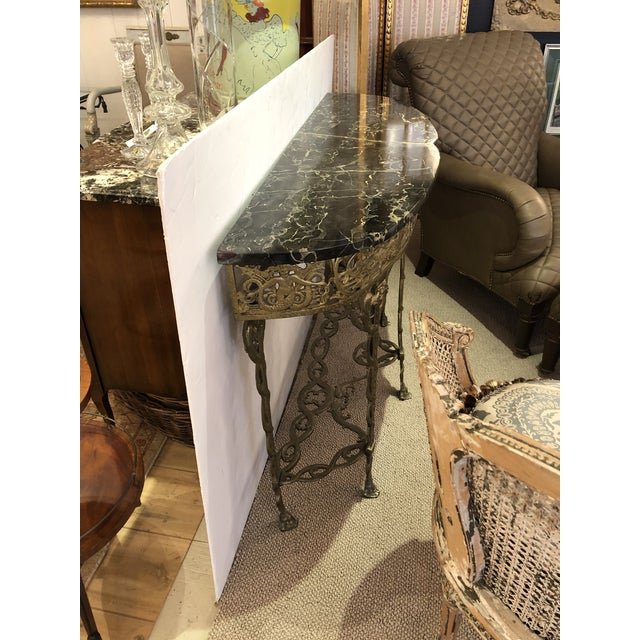 Italian Cast Relief Brass and Black Verdigris Marble Demilune Console For Sale - Image 9 of 10
