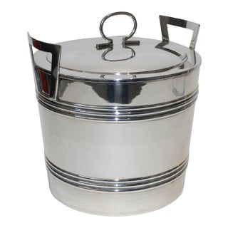 Art Deco English 1930s-40s Insulated Silver Plated Ice Bucket by Wallace For Sale