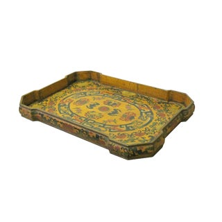 Chinese Yellow Lacquer Color Bats Floral Graphic Painting Tray