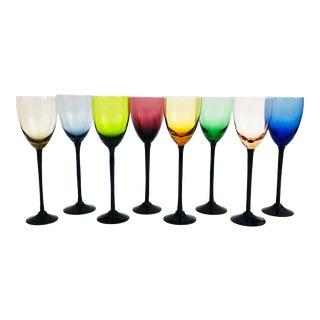 Mid Century Black Stem Rainbow Champagne Glasses - Set of 8 For Sale