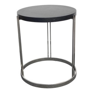 1970s Contemporary Round Black & Chrome Side Table For Sale