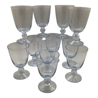 "Kosta Boda Bubble Stem Wine Glasses ""Bernadette Blue"" - Set of 11 For Sale"