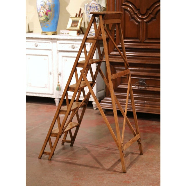 19th Century French Napoleon III Carved Walnut Folding Library Six-Step Ladder For Sale - Image 9 of 12