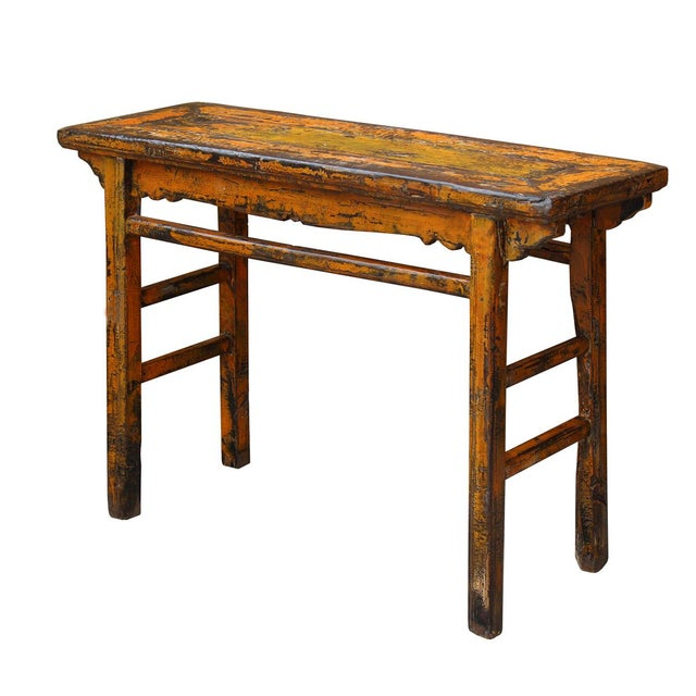 Distressed Orange Chinese Rustic Table - Image 3 of 7